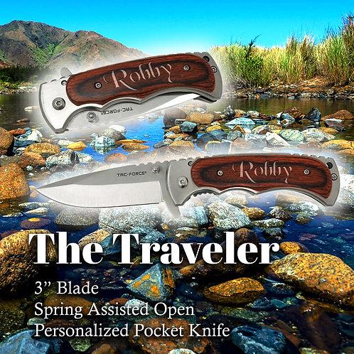Engraved Pocket Knife_The Traveler_Wood Handle