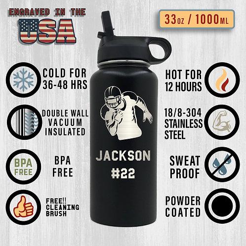 32oz Custom Engraved Sports Bottle Personalized Bottle Steel or Black