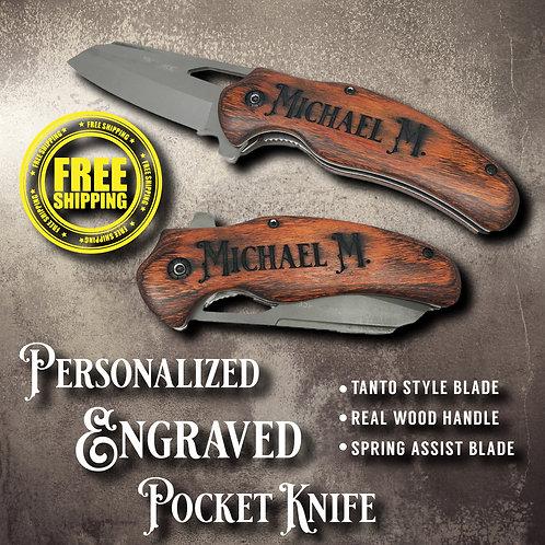 Tanto Style Wood Handle Engraved Pocket Knife Spring Assist