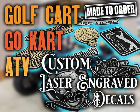 Golf Cart Custom Decal, Go Kart Custom Laser Cut Emblem, Custom ATV Decal
