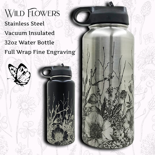 32oz Engraved Water Bottle With Botanical Flowers Drawing