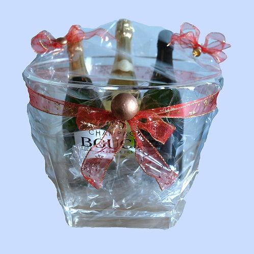 Ijsemmer (voor 6 flessen) met 3  flessen Champagne Bouché