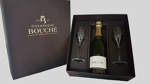 Geschenkkoffer 1 fles Champagne Bouché Brut 2 glazen