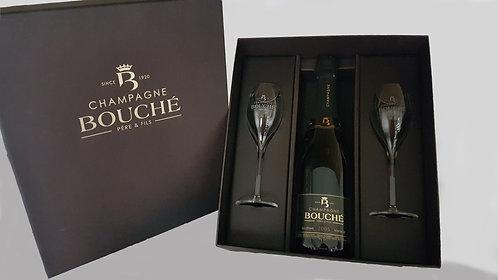 Geschenkkoffer 1 fles Champagne Bouché Millés. 2 glazen