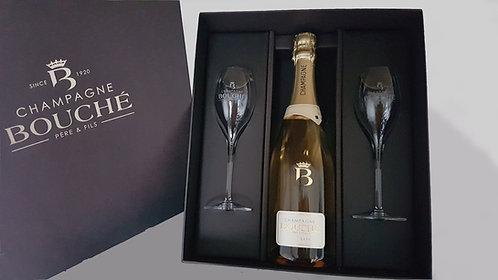 Geschenkkoffer 1 fles Champagne Bouché Saphir 2 glazen