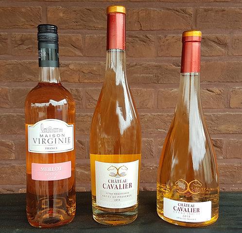 Exemple de paquet 3 bouteilles de vins rosés