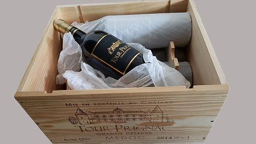 Coffret en bois 6 bouteilles de Tour Prignac Grande Réserve