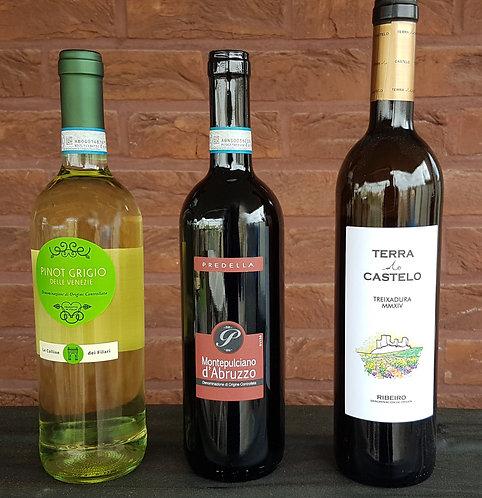 Exemple de paquet 3 bouteilles de vins de paquet surprise