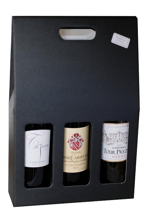 Draagkarton met 3 flessen wijn