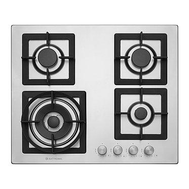 Cooktop Elettromec Quadratto 4 queim. à gás 60cm inox bivolt CKG-4Q-60-XQ-3ZEA