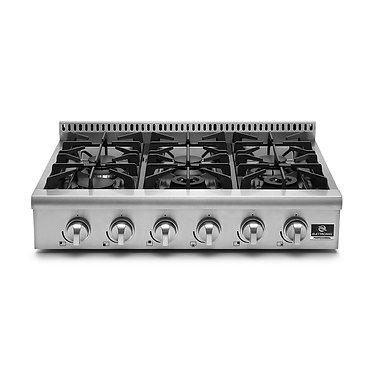 Rangetop Elettromec Professional 6 queim. à gás 90cm inox 127v RT-6Q-90-XP-1HXA
