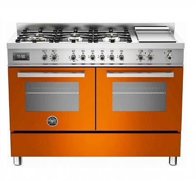 Fogão PRO Bertazzoni 6Q e chapa forno elétrico laranja 120cm 220v