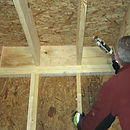 Rim joist air sealing with gun foam