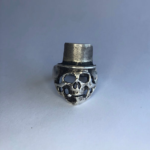 Skull and Stogie Silver Ring