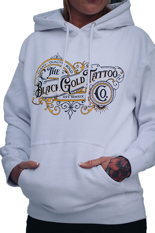 BlackGold Tattoo Shop Hoodie (White)