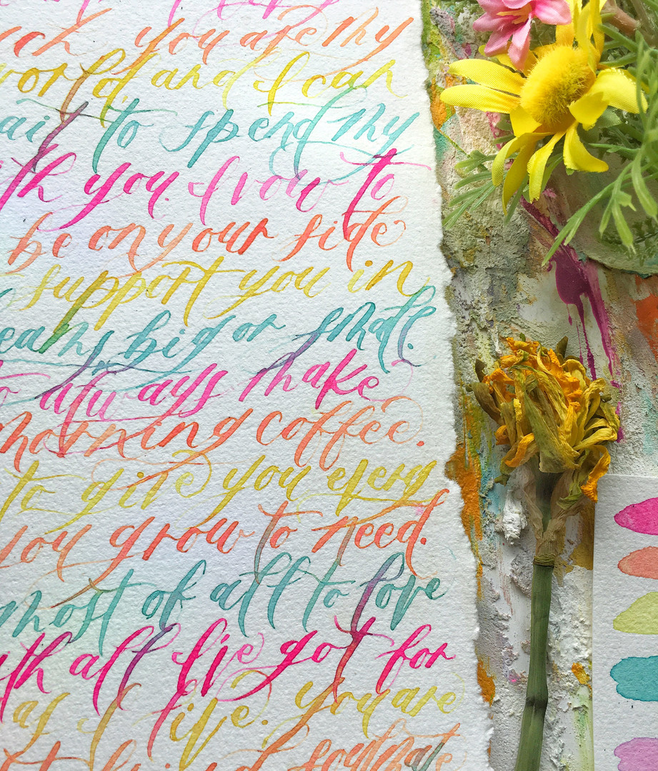 Colorful Calligraphy Vows