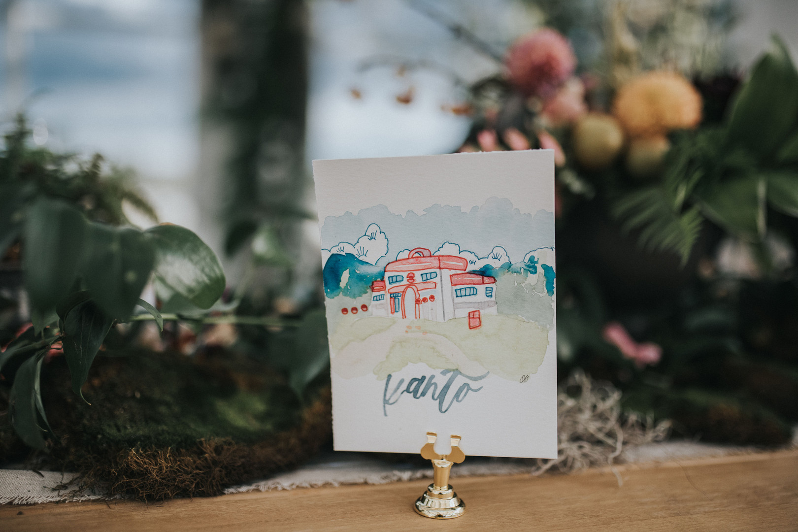 Illustrated Watercolor Table Numbers