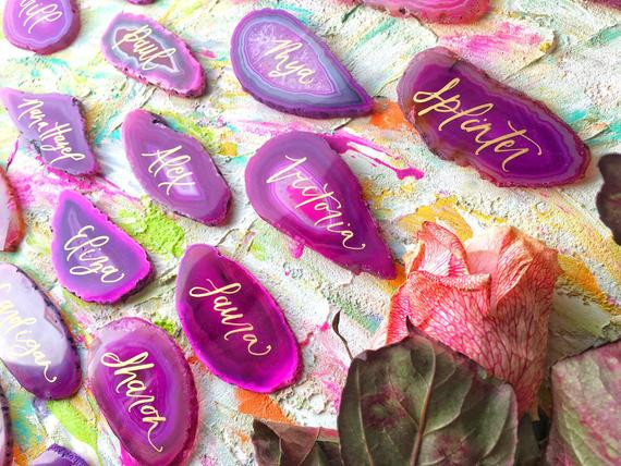 Pink Agate Place Cards
