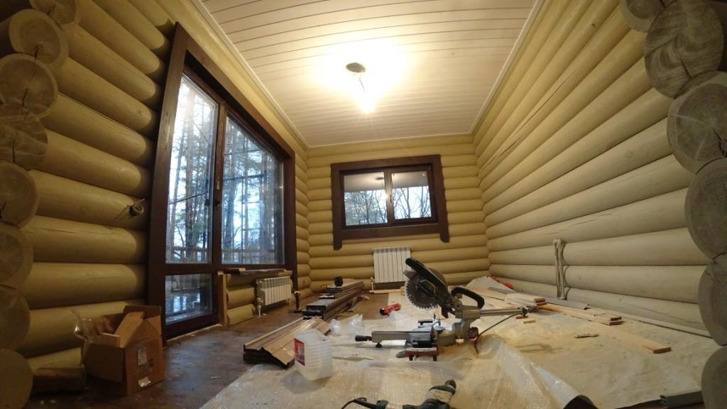 Работы по отделке дома из бревна