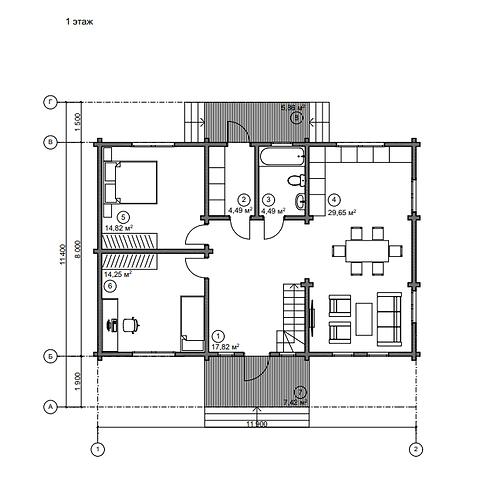 Проект дома из бруса 130 м2