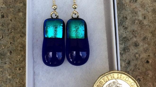Dark blue and aqua drop earrings