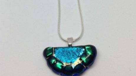 Blue and green semi circle pendant