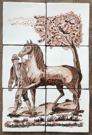 Tegeltableau man en paard