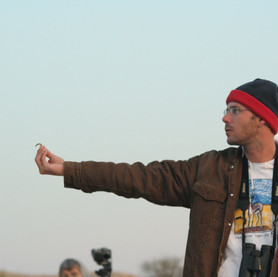 Oded Keynan and a Southern Grey Shrike.jpg