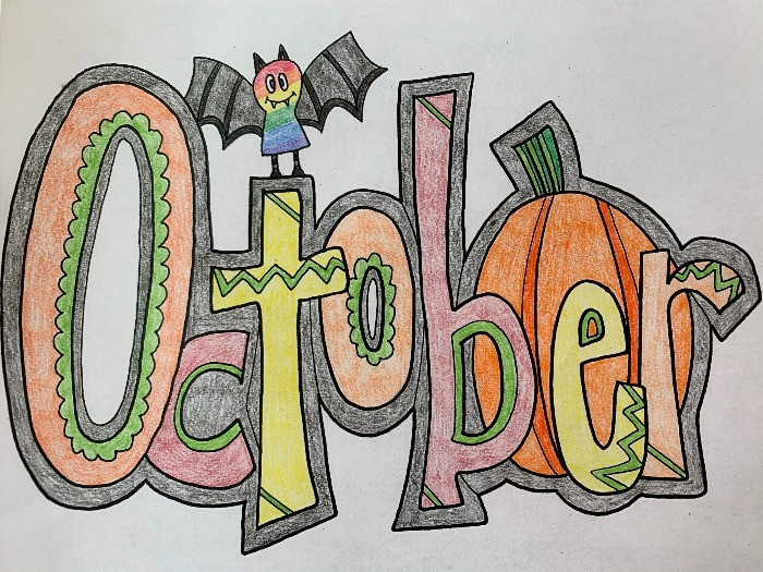 Colored word art for month of October