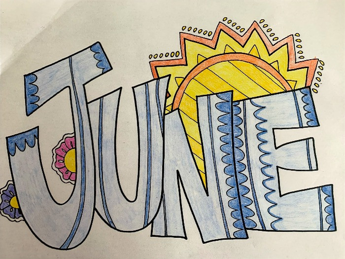 Colored word art for month of June
