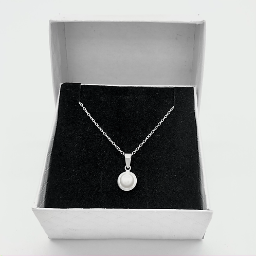 Solid Sterling Silver Necklace With Fresh Water Pearl Pendant