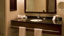 germs on hotel bathroom countertop