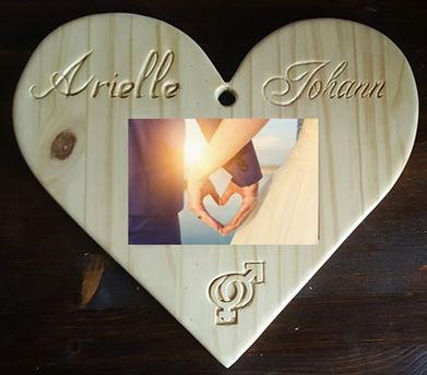 Cadre bois unique sculpté pour mariage