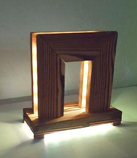 Lampes bois meleze artisanale jeux de lumiere à  led