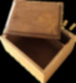 boite compartiment bois chêne gravé doré