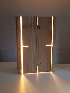 Lampe en bois thermo chauffé