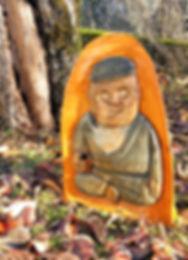 nain de jardin en bois sculpté