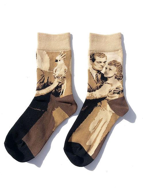 """Dance with Bird"" Socks(sepia)"