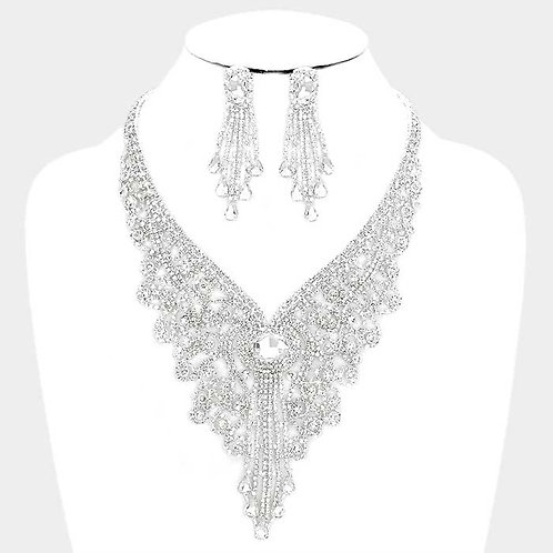 Cascading Crystal Necklace Set