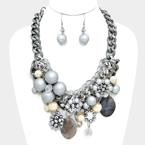 Chunky Beaded Necklace Set