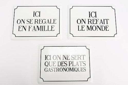 plaque métal message