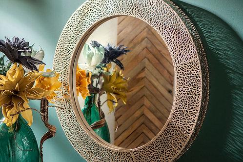 Miroir dentelle  rond argent
