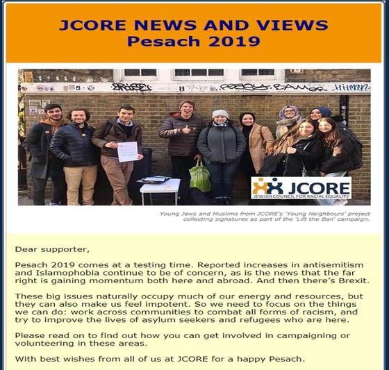 JCORE Newsletter - Pesach 2019