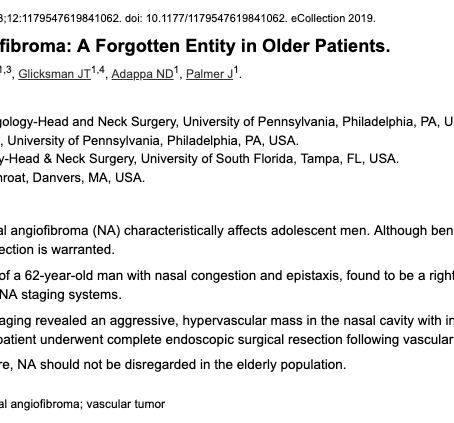 Nasopharyngeal Angiofibroma: A Forgotten Entity in Older Patients