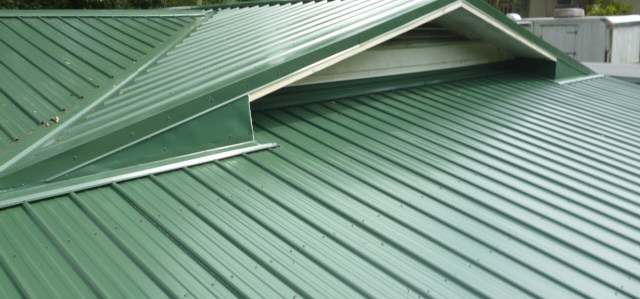 green metal roof
