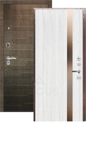 Сейф дверь ДА 25 (2П) Соло белый ясень (вставка темное зеркало)/МДФ Корто коньяк
