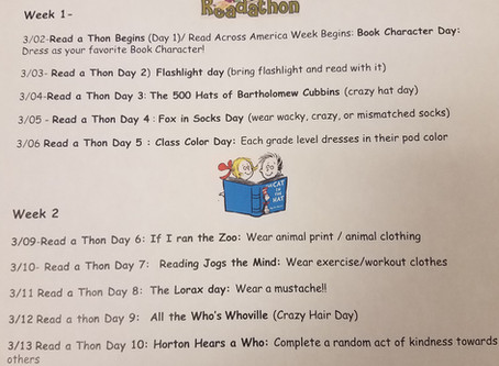 Read a Thon Daily Activities