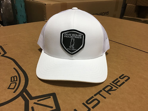 DB Shield hat, white with black shield