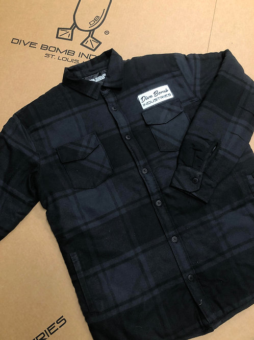 Quilted Shirt Jacket with Dive Bomb Patch, Black/Grey