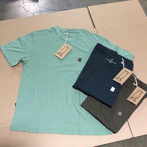 Pocket Patch T-Shirt (Green, Brown, Charcoal Black)